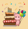 happy birthday card with cute pig vector image vector image
