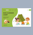 kids summer camping web landing page vector image vector image