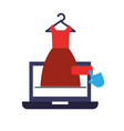 laptop dress clothes hand click online shopping vector image