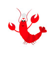 lobster with claw chef hat cute cartoon character vector image vector image