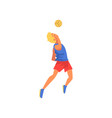 man playing volleyball with ball professional vector image vector image