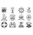 marine and nautical emblems set engraved vector image vector image