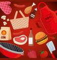 meat with thigh and hamburger food with grill vector image