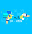 mobile banking and accounting on smartphone vector image vector image