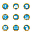 money hacking icons set flat style vector image vector image