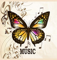 music background with butterfly and notes vector image