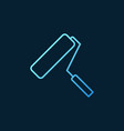paint roller blue linear icon on dark vector image
