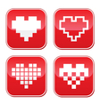 Pixel heart love buttons set vector image vector image