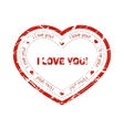 Red grunge stamp in the shape of heart with vector image