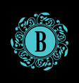 round emblem with blue letter b on black vector image