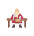 santa claus sitting at his desk writing a letter vector image vector image