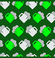 seamless pattern - green white beers with froth vector image