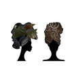 set african scarf women portrait afro turban icon vector image vector image