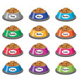set colorful plastic dog bowls vector image vector image