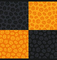 set of seamless patterns with halloween pumpkins vector image