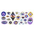set various hand drawn doodle eyes flat vector image