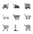 shopping basket icons set simple style vector image vector image