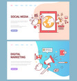 social media and digital marketing online pages vector image