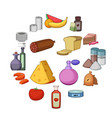 supermarket department icons set cartoon style vector image