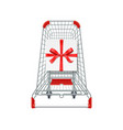 supermarket shopping cart gift box whith red vector image vector image
