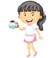 Waitress holding tea pot in hand vector image vector image
