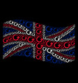 waving british flag pattern of rotate icons vector image