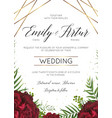 wedding floral invite save the date card design vector image vector image
