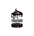 yogurt and boba logo template on white background vector image