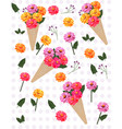 flowers in a cone carnation pattern vector image