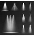 Realistic white gray glowing spotlights set vector image