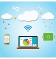 cloud computing to your smartphone laptop and vector image