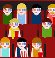 flat people sitting in the cinema and watching a vector image