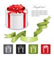 holiday gift box icon set isolated background vector image