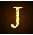 Alphabets J of gold glittering stars vector image vector image