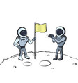 astronaut with flag vector image vector image