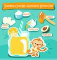 banana orange avocado delicious healthy smoothies vector image vector image