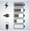 battery icon charge from high to low plug and vector image vector image