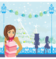 beautiful girls on winter shopping vector image vector image