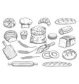bread and bun sketch of bakery and pastry food vector image vector image
