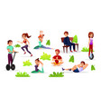 cartoon people leisure activities in park vector image