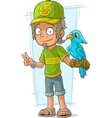 Cartoon standing zoo worker in green vector image vector image