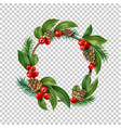 christmas wreath with berry cone leaves vector image