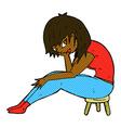 comic cartoon woman sitting on small stool vector image vector image