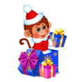cute monkey dressed as santa claus gift boxes vector image