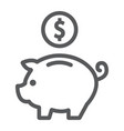 deposit line icon finance and banking piggy bank vector image vector image