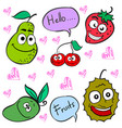 doodle of cute fruit character vector image vector image
