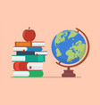earth globe model with books and apple vector image vector image