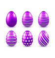 easter eggs purple set spring holidays in april vector image vector image