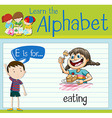 Flashcard letter E is for eating vector image vector image