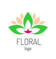 Floral logo template Green leaves and cat face vector image